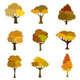 Autumn Trees, isolato su fondo bianco Raccolta semplice degli alberi di autunno delle forme differenti Vettore illustrazione vettoriale