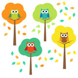Autumn trees and owls vector illustration