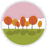 Autumn trees in park. Vector cartoon landscape. Royalty Free Stock Photo