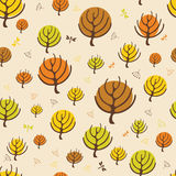 Autumn trees pattern for design wrapping paper Stock Photos