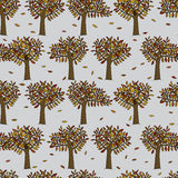 Autumn trees pattern. Seamless pattern made of illustrated trees on grey Royalty Free Stock Photo