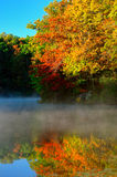 Autumn trees reflected on mist covered Lake Royalty Free Stock Photography