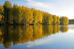 Autumn. Trees reflected in water. A fine autumn day, blue sky and trees in autumn decoration near the water Royalty Free Stock Photo