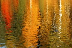 Autumn trees reflected in the water is beautiful. Bright, saturated colors of autumn. Background Stock Image