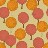 Autumn trees. Seamless pattern with spherical crowns of trees and curls Stock Photography