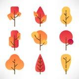Autumn trees set vector illustration