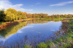 Autumn Trees and Sky Reflection royalty free stock image