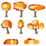 Autumn trees, trees with yellow leaves. Flat design,  illustration Stock Photography