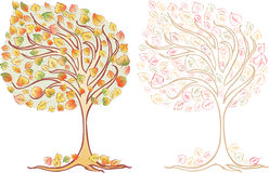 Autumn trees. Vector image of the two fall trees Stock Images