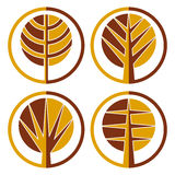 Autumn trees vector round icon set. Stock Images