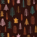 Autumn trees vector seamless pattern repeat tile. Hand drawn fall doodle tree. Seasonal Scandinavian backdrop for Thanksgiving, fabrics, paper, gift wrap, card royalty free illustration