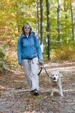 Autumn trekking with dog Royalty Free Stock Photo