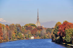 Autumn in Turin (Torino), panorama with river Po and the Mole Antonelliana, Italy Stock Photo