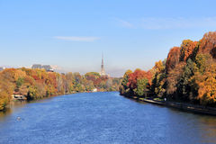 Autumn in Turin (Torino), panorama with river Po and the Mole Antonelliana, Italy. Autumn in Turin (Torino), panorama with river Po parco Valentino and the Mole stock photo