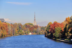 Autumn in Turin (Torino), panorama with river Po and the Mole Antonelliana, Italy Stock Images
