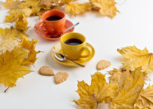 Autumn. Two cups of coffee and cookies in the shape of the leave Stock Image