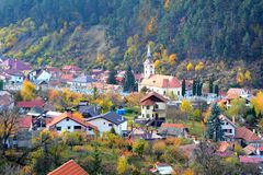 Typical landscape in the city Brasov, situated in Transylvania, Romania, Autumn characteristic colors Royalty Free Stock Image