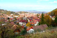 Typical landscape in the city Brasov, situated in Transylvania, Romania, Autumn characteristic colors Royalty Free Stock Photography