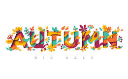 Autumn typography design with papercut shapes Stock Photography