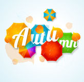 Autumn Umbrella Lettering Concept. Vector Royalty Free Stock Images