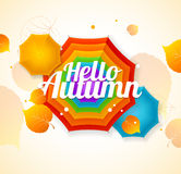 Autumn Umbrella Lettering Concept Vettore Immagine Stock