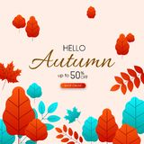 Autumn 50% sale. Promotion card with color leaves. Autumn up to 50 off sale. Promotion card with color leaves. Shop online. Vector background royalty free illustration