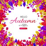 Autumn 50% sale. Promotion card with color leaves. Autumn up to 50 off sale. Promotion card with color leaves. Shop online. Vector background. r Stock Illustration