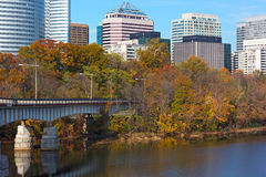 Autumn in urban development near the river, Washington DC, USA. Royalty Free Stock Photos