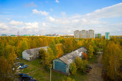 Autumn urban landscape with  bird's eye view. Royalty Free Stock Photography