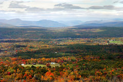Autumn Valley. Fall foliage in valley with distant mountains stock images