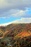 Autumn Valley. View of distant autumn mountains and valley in Madison County, North Carolina Stock Photo