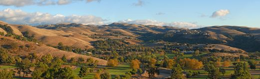 Autumn in the valley. California. Panorama  (#35). Panorama of the valley. Autumn colors Stock Photo