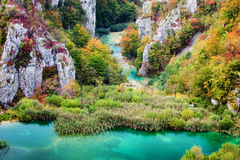Autumn Valley Landscape. Scenic autumn valley landscape in the mountains of Plitvice Lakes National Park, Croatia Royalty Free Stock Photo