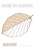 Autumn vector back to school concept with beech leaf sketch Stock Photos