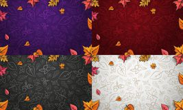 Autumn vector background with colorful leaves, acorns and berrys vector illustration