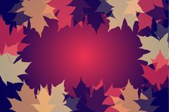 Autumn vector background. Dark blue, purple and yellow colors. Autumn frame with colorful leaves. Leaf pattern background. Vector illustration for webpages. Eps stock illustration