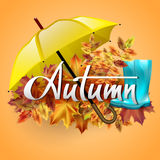 Autumn vector background. Hand-written lettering on a background of autumn leaves with yellow umbrella and rubber boots. Typography Royalty Free Stock Photo