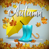 Autumn vector background with leaves and yellow umbrella, rubber boots. Hand-written lettering. Typography. Autumn vector background with autumn leaves and Stock Images