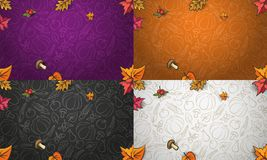 Autumn vector background with colorful vegetables, fruits and leaves stock illustration