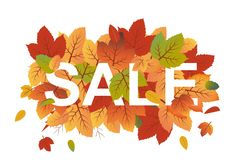 Autumn vector banner with orange and green fall leaves covering Sale text vector illustration