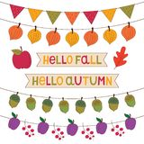 Autumn banners set, isolated decoration set vector illustration