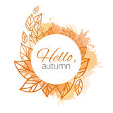 Autumn vector cover  with doodle leaves Stock Images