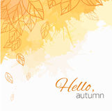 Autumn vector cover  with doodle leaves and yellow and orange blobs Royalty Free Stock Images