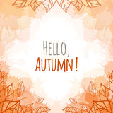 Autumn vector cover. With doodle leaves and yellow and orange blobs for your business Stock Photo