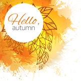 Autumn vector cover  with doodle leaves Royalty Free Stock Photography