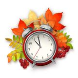 Autumn Vector Fall Leaves and Alarm Clock Royalty Free Stock Photos