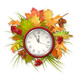 Autumn Vector Fall Leaves and Clock Royalty Free Stock Photography