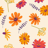 Autumn. vector floral seamless pattern with beautiful flowers Royalty Free Stock Photography
