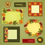 Autumn vector frame set. Vector set with different frames with ornament of autumn leaves vector illustration