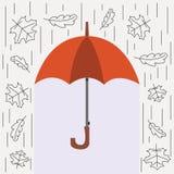 Autumn Vector-illustratie Persoonlijke bescherming tegen regen en sneeuw Stock Foto